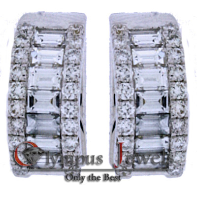 1.44CT 18K WHITE GOLD CUSTOM DIAMOND DESIGNER EARRINGS!